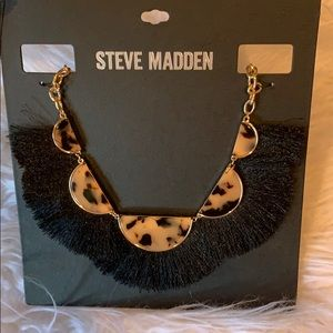 Steve Madden ivory & tortoise fringe necklace new